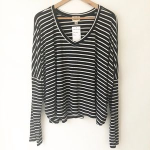 3/$20 PST LS Black & White Striped Top